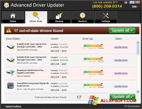 لقطة شاشة Advanced Driver Updater لنظام التشغيل Windows XP