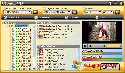 لقطة شاشة CloneDVD لنظام التشغيل Windows XP