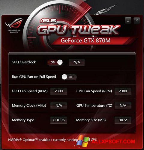 لقطة شاشة ASUS GPU Tweak لنظام التشغيل Windows XP