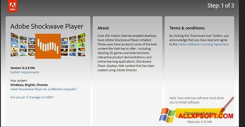 لقطة شاشة Adobe Shockwave Player لنظام التشغيل Windows XP