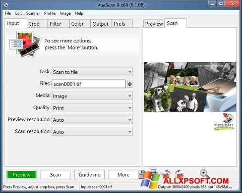 لقطة شاشة VueScan لنظام التشغيل Windows XP