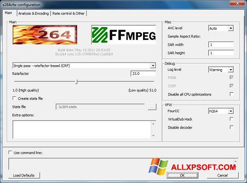 لقطة شاشة x264 Video Codec لنظام التشغيل Windows XP