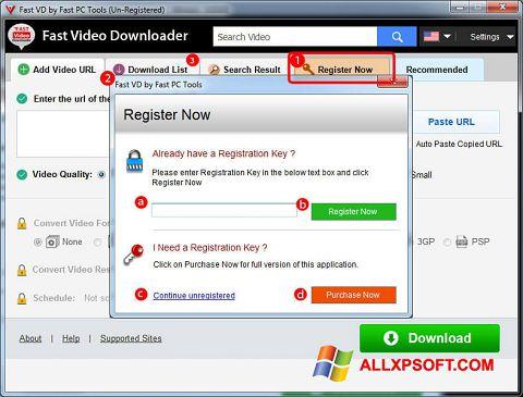 لقطة شاشة Fast Video Downloader لنظام التشغيل Windows XP