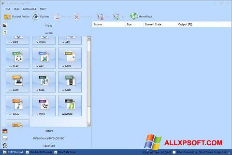 لقطة شاشة Format Factory لنظام التشغيل Windows XP