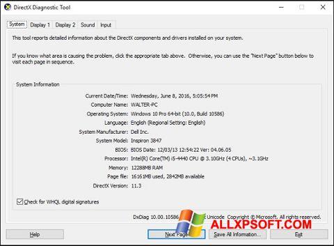 لقطة شاشة DirectX لنظام التشغيل Windows XP
