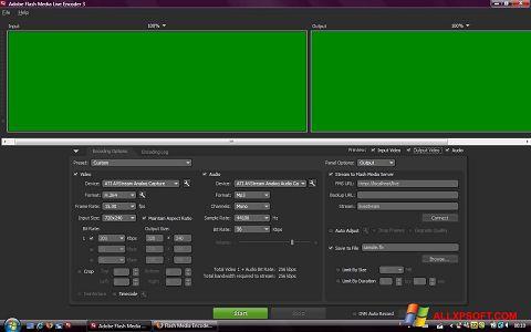 لقطة شاشة Adobe Media Encoder لنظام التشغيل Windows XP