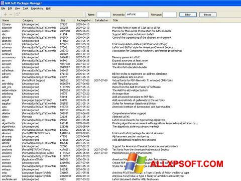 لقطة شاشة MiKTeX لنظام التشغيل Windows XP