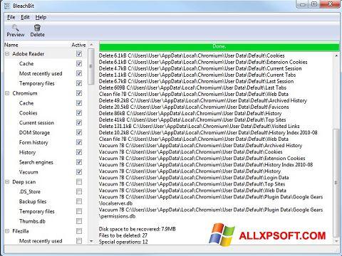 لقطة شاشة BleachBit لنظام التشغيل Windows XP
