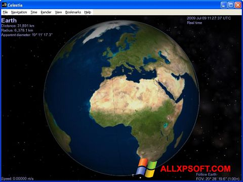لقطة شاشة Celestia لنظام التشغيل Windows XP