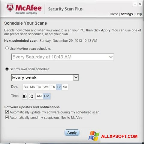 لقطة شاشة McAfee Security Scan Plus لنظام التشغيل Windows XP