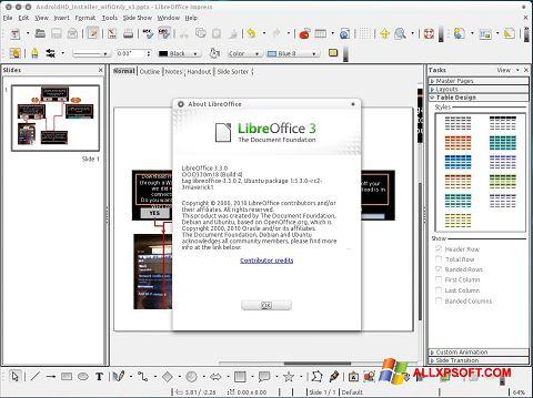 لقطة شاشة LibreOffice لنظام التشغيل Windows XP