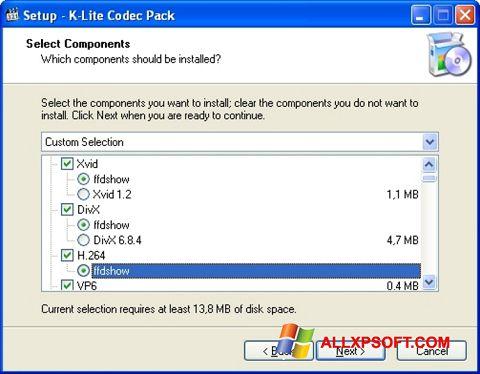 لقطة شاشة K-Lite Codec Pack لنظام التشغيل Windows XP