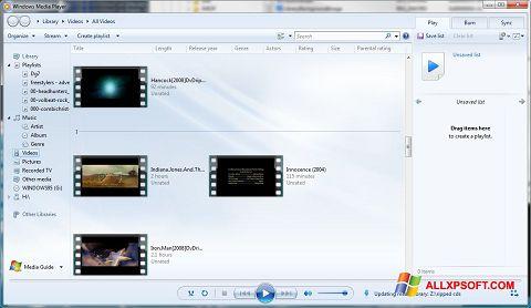 لقطة شاشة Media Player لنظام التشغيل Windows XP