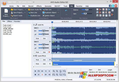 لقطة شاشة AVS Audio Editor لنظام التشغيل Windows XP