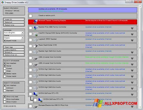 لقطة شاشة Snappy Driver Installer لنظام التشغيل Windows XP