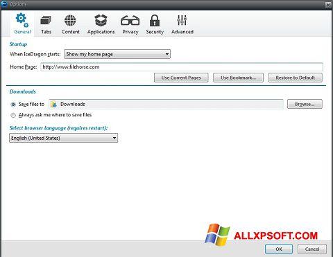 لقطة شاشة Comodo IceDragon لنظام التشغيل Windows XP