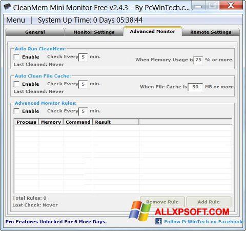 لقطة شاشة CleanMem لنظام التشغيل Windows XP