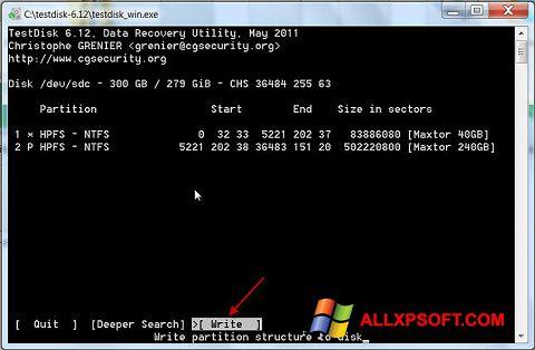 لقطة شاشة TestDisk لنظام التشغيل Windows XP