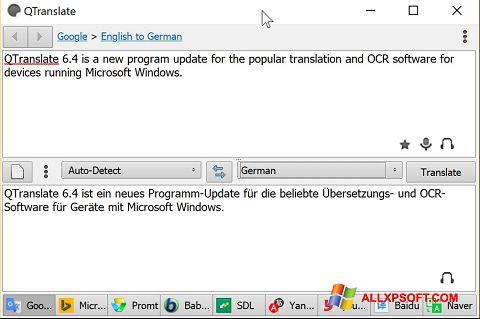 لقطة شاشة QTranslate لنظام التشغيل Windows XP