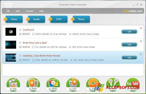 لقطة شاشة Freemake Video Converter لنظام التشغيل Windows XP