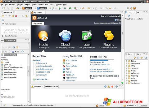 لقطة شاشة Aptana Studio لنظام التشغيل Windows XP