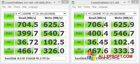 لقطة شاشة CrystalDiskMark لنظام التشغيل Windows XP