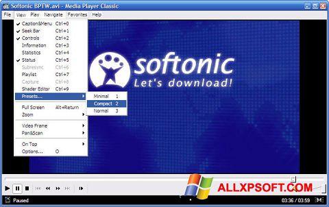 لقطة شاشة Media Player Classic لنظام التشغيل Windows XP
