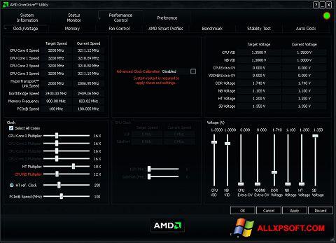 لقطة شاشة AMD Overdrive لنظام التشغيل Windows XP