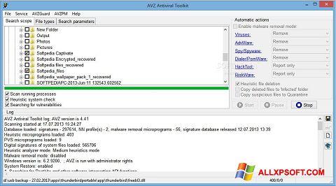 لقطة شاشة AVZ لنظام التشغيل Windows XP