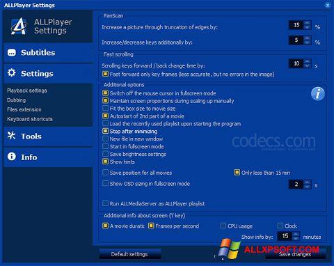 لقطة شاشة ALLPlayer لنظام التشغيل Windows XP