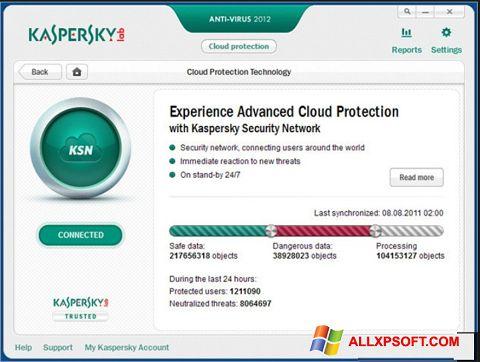 لقطة شاشة Kaspersky لنظام التشغيل Windows XP