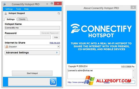 لقطة شاشة Connectify لنظام التشغيل Windows XP