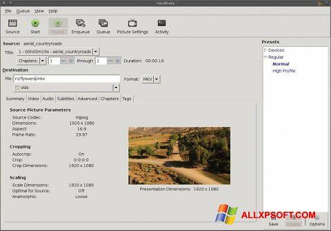 لقطة شاشة HandBrake لنظام التشغيل Windows XP