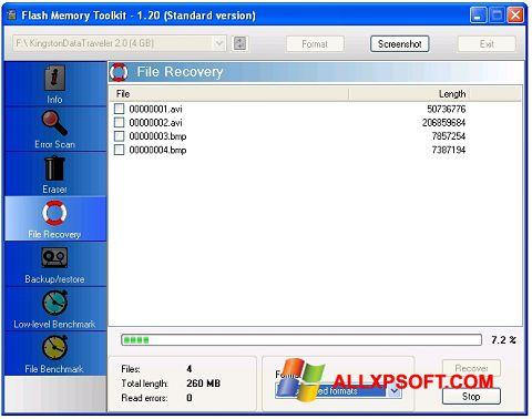 لقطة شاشة Flash Memory Toolkit لنظام التشغيل Windows XP