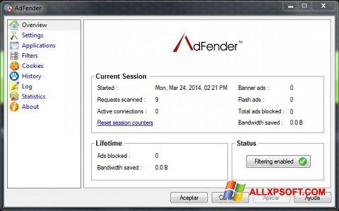 لقطة شاشة AdFender لنظام التشغيل Windows XP