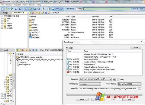 لقطة شاشة UltraISO لنظام التشغيل Windows XP