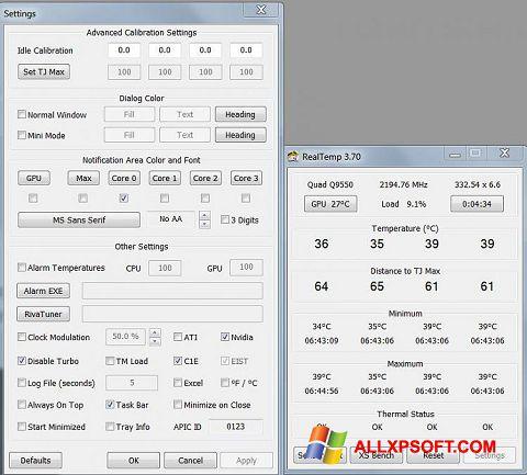 لقطة شاشة Real Temp لنظام التشغيل Windows XP