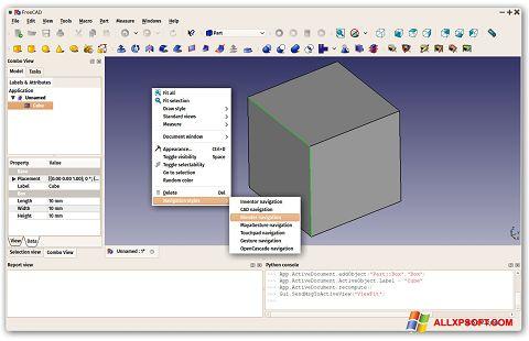 لقطة شاشة FreeCAD لنظام التشغيل Windows XP
