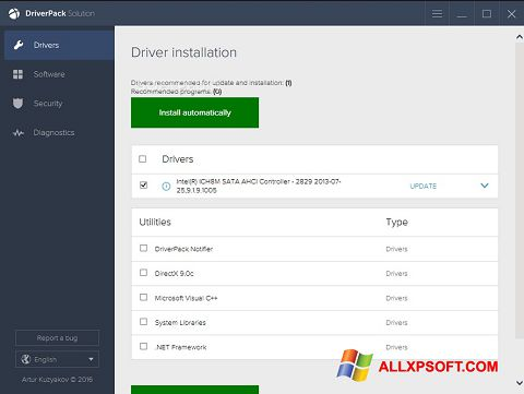 لقطة شاشة DriverPack Solution لنظام التشغيل Windows XP