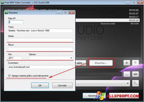 لقطة شاشة Free MP4 Video Converter لنظام التشغيل Windows XP