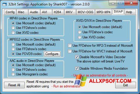 لقطة شاشة ADVANCED Codecs لنظام التشغيل Windows XP