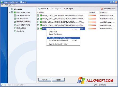 لقطة شاشة Auslogics Registry Cleaner لنظام التشغيل Windows XP