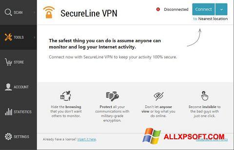 لقطة شاشة Avast SecureLine VPN لنظام التشغيل Windows XP