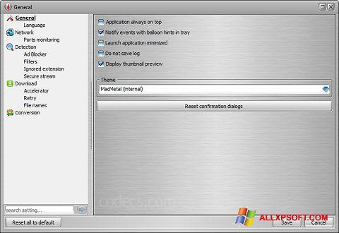 لقطة شاشة VSO Downloader لنظام التشغيل Windows XP