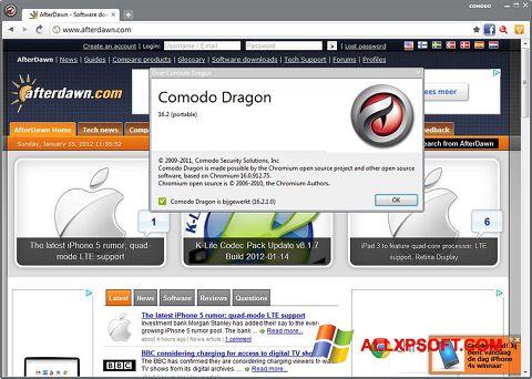 لقطة شاشة Comodo Dragon لنظام التشغيل Windows XP
