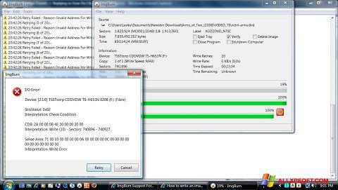 لقطة شاشة ImgBurn لنظام التشغيل Windows XP