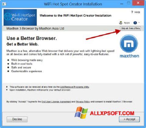 لقطة شاشة Wi-Fi HotSpot Creator لنظام التشغيل Windows XP