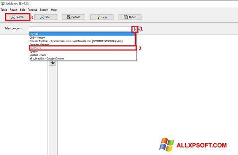 لقطة شاشة ArtMoney Pro لنظام التشغيل Windows XP