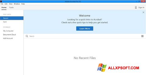 لقطة شاشة Adobe Acrobat Pro DC لنظام التشغيل Windows XP