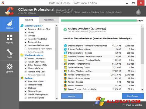 لقطة شاشة CCleaner لنظام التشغيل Windows XP